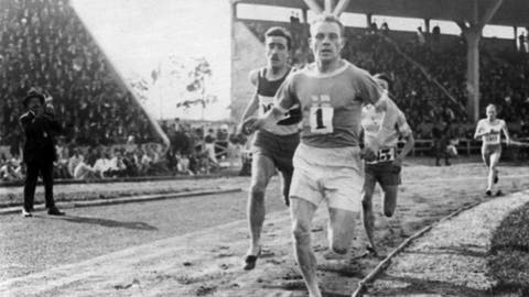 <p>               FILE - In this July 1924, file photo, Paavo Nurmi, of Finland, leads the field during a track at the 1924 Olympics in Paris. (AP Photo/File)             </p>
