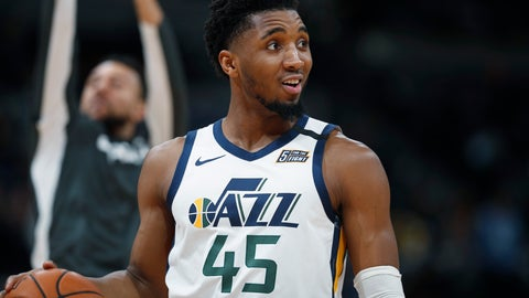 <p>               FILE - In this Jan. 30, 2020, file photo, Utah Jazz guard Donovan Mitchell looks to the bench for direction in the second half of an NBA basketball game against the Denver Nuggets in Denver. (AP Photo/David Zalubowski, File)             </p>