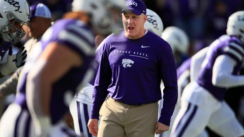 "<p>               FILE - In this Nov. 16, 2019, file photo, Kansas State head coach Chris Klieman warms up his team before an NCAA college football game against West Virginia in Manhattan, Kan. Kansas State football players say they will boycott all team activities until administrators create a policy that would allow a student to be expelled for ""openly racist, threatening or disrespectful actions."" The move that most players announced Saturday on social media follows a tweet by a student about the death of George Floyd that prompted outrage on campus. Late Sunday, June 28, 2020, coach Chris Klieman tweeted his support: ""Racism is NOT welcome at KSTATE  now or in the future. ... I am excited to help every player unite for the solution NOW, so that that we can come together stronger than ever. Black Lives Matter."" (AP Photo/Orlin Wagner, File)             </p>"