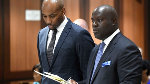 <p>               FILE - In this Aug. 9, 2018 file photo, Jamill Jones, left, appears in Queens Criminal Court in New York. The former Wake Forest men's assistant basketball coach was sentenced Thursday, July 23, 2020, to three years of probation, community service and a fine for fatally punching a man in New York City who pounded on his car's window in August 2018. (Barry Williams/Dailymail.com via AP, Pool, File)             </p>
