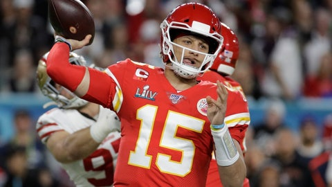 <p>               FILE - In this Feb. 2, 2020, file photo, Kansas City Chiefs quarterback Patrick Mahomes (15) passes against the San Francisco 49ers during the first half of the NFL Super Bowl 54 football game in Miami Gardens, Fla. The Chiefs made sure they will have Super Bowl MVP Mahomes around as long as possible. Mahomes agreed to a 10-year extension worth $503 million, according to his agency, Steinberg Sports. The deal is worth $477 million in guarantee mechanisms and includes a no-trade clause and opt-out clauses if guarantee mechanisms are not met. It is the richest contract in professional sports history, surpassing Mike Trout's $426.5 million deal with the Los Angeles Angels. (AP Photo/Patrick Semansky, File)             </p>