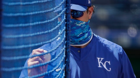 <p>               Kansas City Royals manager Mike Matheny watches baseball practice at Kauffman Stadium on Thursday, July 9, 2020, in Kansas City, Mo. (AP Photo/Charlie Riedel)             </p>
