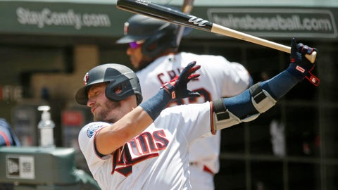 <p>               Minnesota Twins' Josh Donaldsonn, left, takes a practice swing on deck along with Nelson Cruz during a summer camp intrasquad baseball game Friday, July 17, 2020 in Minneapolis. (AP Photo/Jim Mone)             </p>