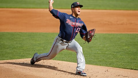 <p>               Minnesota Twins starting pitcher Jose Berrios throws in an intrasquad game at a baseball camp Monday, July 13, 2020, in Minneapolis. (AP Photo/Bruce Kluckhohn)             </p>