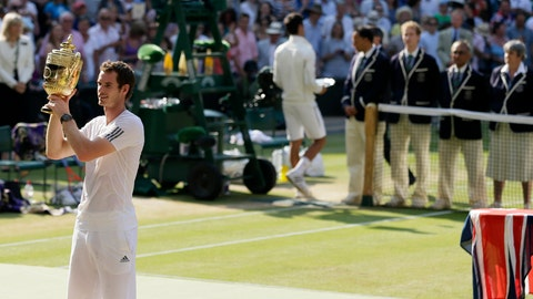 <p>               FILE - In this July 7, 2013, filemphoto, Andy Murray of Britain poses with the trophy after defeating Novak Djokovic of Serbia in the men's singles final match at the All England Lawn Tennis Championships in Wimbledon, London. (AP Photo/Alastair Grant, File)             </p>