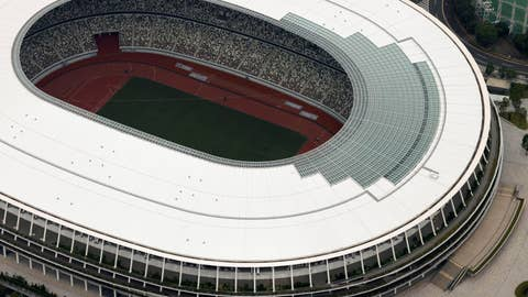 <p>               This aerial photo shows the New National Stadium, main stadium for the Tokyo Olympics and Paralympics, in Tokyo, Tuesday, July 21, 2020. The postponed Tokyo Olympics have again reached the one-year-to-go mark. But the celebration is small this time with more questions than answers about how the Olympics can happen in the middle of a pandemic. That was before COVID-19 postponed the Olympics and pushed back the opening to July 23, 2021. (Kyodo News via AP)             </p>