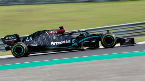 <p>               Mercedes driver Lewis Hamilton of Britain steers his car during the Hungarian Formula One Grand Prix at the Hungaroring racetrack in Mogyorod, Hungary, Sunday, July 19, 2020. (AP Photo/Darko Bandic)             </p>