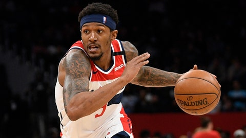 <p>               FILE - In this March 8, 2020, file photo, Washington Wizards guard Bradley Beal drives during an NBA basketball game against the Miami Heat in Washington. Wizards leading scorer Bradley Beal won't take part in the restart of the NBA season because of a right rotator cuff injury. (AP Photo/Nick Wass, File)             </p>
