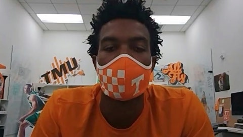 <p>               This image taken from video shows Tennessee sophomore basketball player Josiah-Jordan James, Friday, July 10, 2020. The Big Ten decision to wipe more than three dozen nonconference football games off the schedule this year has sent a ripple of fear through athletic departments across much of the country. (AP Photo/Teresa Walker via Zoom)             </p>