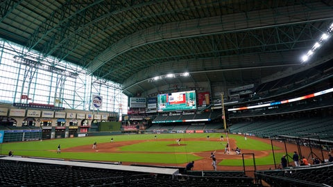 <p>               The Houston Astros play a simulated baseball game inside Minute Maid Park Thursday, July 9, 2020, in Houston. (AP Photo/David J. Phillip)             </p>