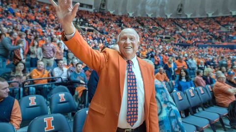 <p>               FILE - In this Dec. 2, 2015, file photo, former University of Illinois basketball coach Lou Henson acknowledges the crowd while taking his seat courtside during the dedication of the court in his name at the State Farm Center in Champaign, Ill. Henson, the basketball coach who led Illinois back into the national spotlight, has died at age 88. The school said Henson died Saturday, July, 25, 2020, and was buried on Wednesday, July 29, 2020.  (AP Photo/Rick Danzl, File)             </p>