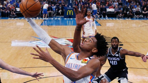 <p>               FILE - In this Feb. 27, 2020, file photo, Oklahoma City Thunder guard Shai Gilgeous-Alexander (2) shoots in front of Sacramento Kings forward Harry Giles III (20) during the first half of an NBA basketball game in Oklahoma City. The Thunder were one of the hottest teams in the NBA before the coronavirus pandemic hit. (AP Photo/Sue Ogrocki, File)             </p>