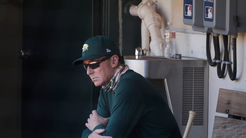 <p>               Oakland Athletics manager Bob Melvin watches from the dugout during a baseball practice in Oakland, Calif., Saturday, July 11, 2020. (AP Photo/Jeff Chiu)             </p>