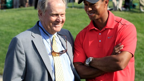 <p>               FILE - In this June 3, 2012, file photo, Jack Nicklaus, left, talks with Tiger Woods after Woods won the Memorial golf tournament at the Muirfield Village Golf Club in Dublin, Ohio. The PGA Tour has a deal that would bring a one-time event to Muirfield Village a week before the Memorial, giving it tournaments in consecutive weeks.  (AP Photo/Tony Dejak, File)             </p>