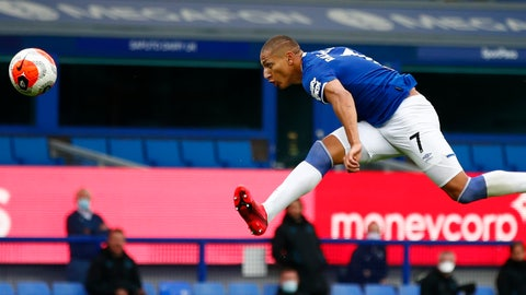 <p>               Everton's Richarlison scores his side's opening goal during the English Premier League soccer match between Everton and Southampton at Goodison Park in Liverpool, England, Thursday, July 9, 2020. (Clive Brunskill/Pool via AP)             </p>