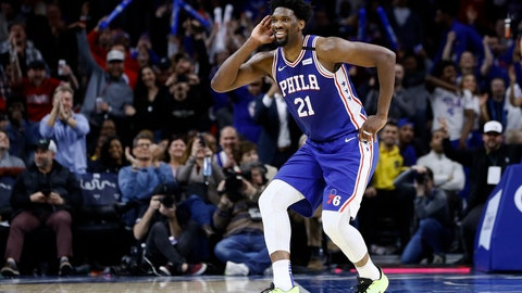 <p>               FILE - In this Feb. 24, 2020, file photo, Philadelphia 76ers' Joel Embiid celebrates after a three-point basket during the second half of an NBA basketball game against the Atlanta Hawks in Philadelphia. 76ers coach Brett Brown says All-Stars Ben Simmons and Joel Embiid are healthy for the NBA restart. (AP Photo/Matt Slocum, File)             </p>