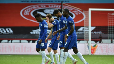 <p>               Chelsea players leave the field end of the English Premier League soccer match between Sheffield United and Chelsea at Bramall Lane in Sheffield, England, Saturday, July 11, 2020. Sheffield United won 3-0. (AP photo/Rui Vieira, Pool)             </p>