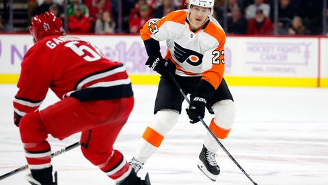 <p>               FILE - In this  Thursday, Nov. 21, 2019 file photo, Philadelphia Flyers' Oskar Lindblom (23) moves the puck against Carolina Hurricanes' Jake Gardiner (51) during the third period of an NHL hockey game in Raleigh, N.C. Philadelphia Flyers forward Oskar Lindblom has completed radiation treatments for a rare form of bone cancer.  He rang the bell at Abramson Cancer Center at Pennsylvania Hospital, which signifies that he has completed his radiation treatments. The 23-year-old Lindblom was diagnosed in December with Ewing's sarcoma, a cancerous tumor that grows in the bones or in the tissue around bones.  Lindblom says he's grateful the cancer was caught early and he's happy to be alive. (AP Photo/Karl B DeBlaker, File)             </p>