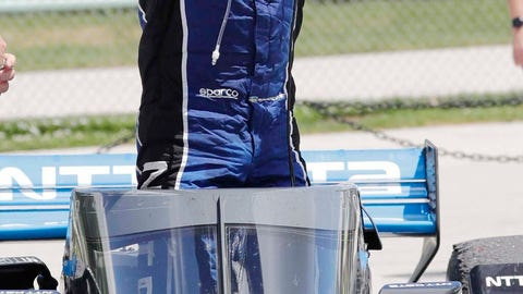 <p>               IndyCar driver Felix Rosenqvist reacts after winning auto race two of the REV Group Grand Prix, Sunday, July 12, 2020, at Road America in Elkhart Lake, Wis. (Gary C. Klein/The Sheboygan Press via AP)             </p>