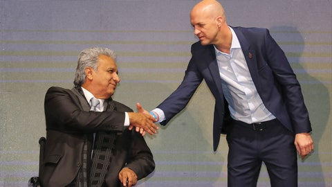 <p>               FILE - In this Jan. 13, 2020 file photo, Ecuador's President Lenin Moreno, left, welcomes Jordi Cruyff as Ecuador's new national soccer coach in Quito, Ecuador. Cruyff resigned from the post on Thursday, July 23, 2020 without having led a single game or even a training session, according to the Ecuador's national soccer federation. (AP Photo/Dolores Ochoa, File)             </p>