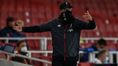 <p>               Liverpool's manager Jurgen Klopp gestures during the English Premier League soccer match between Arsenal and Liverpool at the Emirates Stadium in London, England, Wednesday, July 15, 2020. (Shaun Botterill/Pool via AP)             </p>