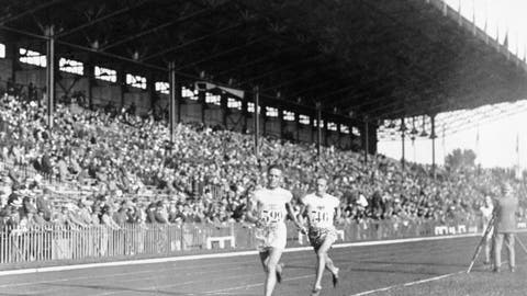 <p>               FILE - In this 1924 file photo, Vilho Ritola, of Finland, leads the field during the men's 10,000-meter race at the 1924 Olympics in Paris. Ritola won the gold medal for the event. (AP Photo/File)             </p>