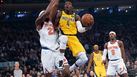 <p>               FILER - In this Feb. 21, 2020, file photo, Indiana Pacers guard Victor Oladipo (4) goes to the basket against New York Knicks center Mitchell Robinson (23) in the first half of an NBA basketball game at Madison Square Garden in New York. The Pacers will finish this season without Oladipo after the two-time All-Star decided to sit out because of the risk of re-injuring his right knee. (AP Photo/Mary Altaffer)             </p>