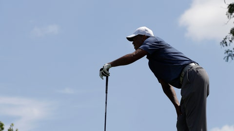 <p>               Tiger Woods watches his shot from the fifth tee during the second round of the Memorial golf tournament, Friday, July 17, 2020, in Dublin, Ohio. (AP Photo/Darron Cummings)             </p>