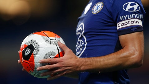 <p>               Chelsea's Cesar Azpilicueta holds the ball during the English Premier League soccer match between Chelsea and Watford at the Stamford Bridge stadium in London, Saturday, July 4, 2020. (Matthew Childs/Pool via AP)             </p>