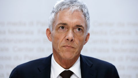 <p>               In this Friday, May 10, 2019 FILE photo, Swiss Federal Attorney Michael Lauber watches during a media conference at the Media Centre of the Federal Parliament in Bern, Switzerland. According to media reports, Lauber offered his resignation on 24 July 2020 amid impeachment proceedings over his handling of the FIFA corruption probe. (Peter Klaunzer/Keystone via AP)             </p>