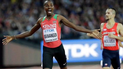 """<p>               FILE - In this Sunday, Aug. 13, 2017 file photo, Kenya's Elijah Manangoi celebrates winning the gold medal in the Men's 1500m final during the World Athletics Championships in London. Former 1,500-meter world champion Elijah Manangoi was provisionally suspended Thursday, July 23, 2020 for missing doping tests. The Athletics Integrity Unit said the Kenyan runner has been charged with """"whereabouts failures."""" No timetable for his disciplinary case was given. (AP Photo/David J. Phillip, File)             </p>"""