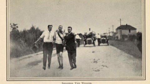 <p>               This image provided by the Library of Congress, shows Thomas Hicks competing in the marathon at the 1904 Olympic games in St. Louis. The marathon may be the single most memorable event from the 1904 Games. The race took place in 90-degree heat on dusty roads with only a single water break, and 18 of the 32 athletes withdrew from exhaustion. . (Library of Congress, Meeting of Frontiers via AP)             </p>