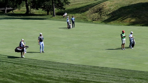<p>               Nick Watney, Dylan Fritelli, of South Africa, and Denny McCarthy play during opening round of the Workday Charity Open golf tournament, Thursday, July 9, 2020, in Dublin, Ohio. (AP Photo/Darron Cummings)             </p>