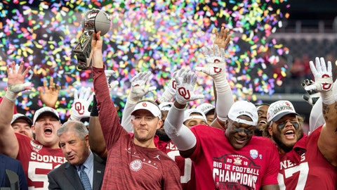 <p>               FILE - In this Dec. 7, 2019, file photo, Oklahoma head coach Lincoln Riley hosts the Big 12 Conference championship trophy after defeating Baylor 30-23 in overtime in an NCAA college football game in Arlington, Texas. Riley will earn an average of more than $7.5 million a year under a contract extension through the 2025 season. The university's board of regents approved the two-year extension Tuesday, July 28, 2020. (AP Photo/Jeffrey McWhorter, File)             </p>