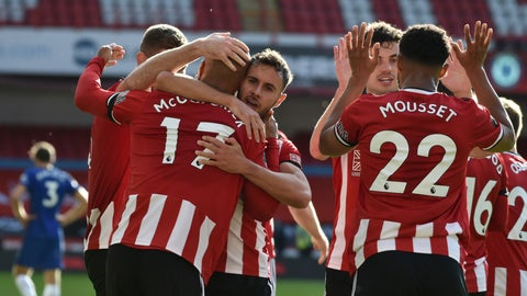 <p>               Sheffield United's David McGoldrick, left, celebrates after scoring his side's third goal during the English Premier League soccer match between Sheffield United and Chelsea at Bramall Lane in Sheffield, England, Saturday, July 11, 2020. (AP photo/Rui Vieira, Pool)             </p>