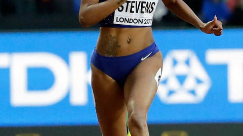<p>               FILE - In this Aug. 8, 2017, file photo, United States' Deajah Stevens races in a women's 200m first round heat during the World Athletics Championships in London. American sprinter Deajah Stevens was provisionally suspended Friday, May 1, 2020, for repeatedly being unavailable for doping tests.The Athletics Integrity Unit said Stevens amassed three whereabouts violations in a year. (AP Photo/David J. Phillip, File)             </p>