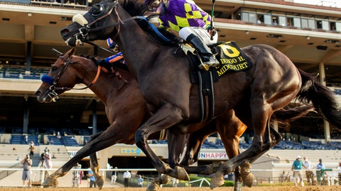 <p>               In this image provided by Benoit Photo, Maximum Security, outside, with Abel Cedillo aboard, overpowers Midcourt, inside, with Victor Espinoza aboard, to win the Grade II, $150,000 San Diego Handicap horse race Saturday, July 25, 2020, at Del Mar Thoroughbred Club in Del Mar, Calif. (Benoit Photo via AP)             </p>