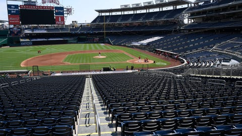 <p>               An overall view of Nationals Park during the Washington Nationals baseball practice, Wednesday, July 22, 2020, in Washington. (AP Photo/Nick Wass)             </p>
