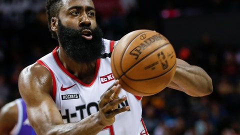 <p>               FILE - In this Saturday, March 7, 2020, file photo, Houston Rockets guard James Harden passes against the Charlotte Hornets during the second half of an NBA basketball game in Charlotte, N.C. Harden practiced with his teammates for the first time this summer, Thursday, July 16, 2020, after arriving later than most of the Rockets for the season restart at Walt Disney World. (AP Photo/Nell Redmond, File)             </p>