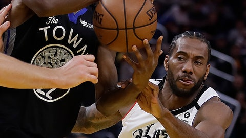 <p>               Golden State Warriors' Andrew Wiggins, left, keeps the ball from Los Angeles Clippers' Kawhi Leonard (2) in the second half of an NBA basketball game Tuesday, March 10, 2020, in San Francisco. (AP Photo/Ben Margot)             </p>