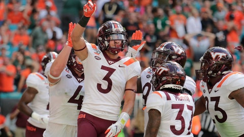 <p>               FILE - In this Oct. 5, 2019, file photo, Virginia Tech defensive back Caleb Farley (3) celebrates after intercepting a pass during the first half of the team's NCAA college football game against Miami in Miami Gardens, Fla. Farley announced Wednesday, July 29, 2020, he will not play for the Hokies if there is a season, becoming the most notable major-college football player to opt out because of concerns about the coronavirus. (AP Photo/Lynne Sladky, File)             </p>