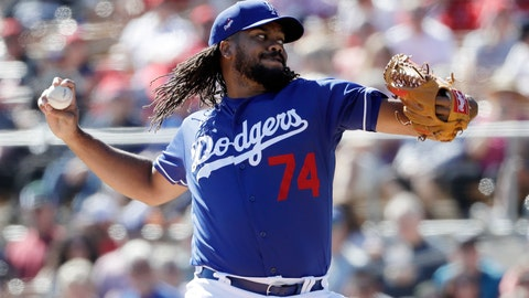 <p>               Los Angeles Dodgers relief pitcher Kenley Jansen works against a Los Angeles Angels batter during the second inning of a spring training baseball game Wednesday, Feb. 26, 2020, in Glendale, Ariz. (AP Photo/Gregory Bull)             </p>
