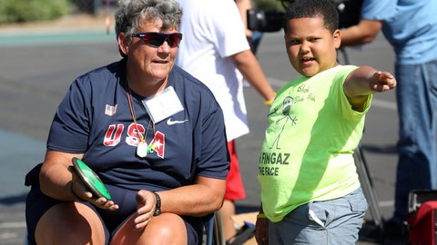 <p>               FILE - In this May 2, 2015, file photo, Paralympian Angela Madsen, left, works with Los Angeles Unified School District students during Ready, Set, Gold! Day at Trinity Street Elementary in Los Angeles. A three-person crew left the Hawaii Yacht Club Wednesday, July 29, 2020, to search for the craft piloted by Angela Madsen, who died in the Pacific Ocean last month, The Honolulu Star-Advertiser reported Thursday. (Photo by Matt Sayles/Invision for Samsung/AP Images, File)             </p>