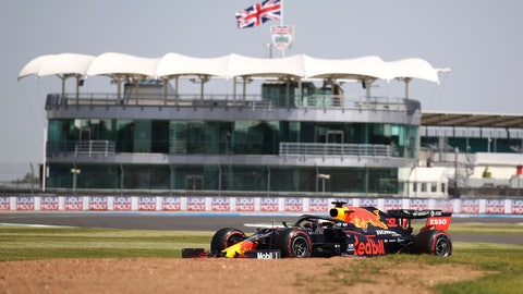 <p>               Red Bull driver Max Verstappen of the Netherlands steers his car during the first practice session for the British Formula One Grand Prix at the Silverstone circuit in Silverstone, England, Friday, July 31, 2020. The British Formula One Grand Prix race will be held on Sunday. (Bryn Lennon/Pool via AP)             </p>