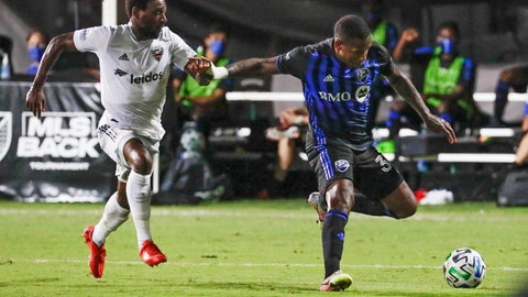 <p>               Montreal Impact forward Romell Quioto, right, tries to get off a shot in front of D.C. United defender Chris Odoi-Atsem, left, during the first half of an MLS soccer match, Tuesday, July 21, 2020, in Kissimmee, Fla. (AP Photo/John Raoux)             </p>