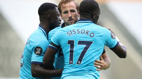 <p>               Tottenham's Harry Kane, center, celebrates after scoring his side's third goal during the English Premier League soccer match between Newcastle United and Tottenham Hotspur at St. James' Park in Newcastle, England, Wednesday, July 15, 2020. (Owen Humphreys/Pool via AP)             </p>