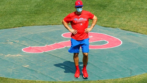 <p>               FILE - In this July 3, 2020, file photo, Philadelphia Phillies manager Joe Girardi looks on from the pitchers mound during a baseball training session in Philadelphia. (AP Photo/Chris Szagola, File)             </p>