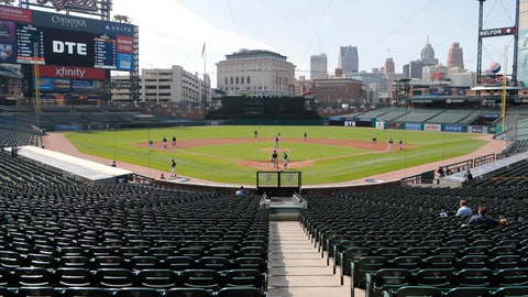<p>               FILE - In this Friday, July 10, 2020, file photo, the Detroit Tigers play an intrasquad baseball game, in Detroit. The Tigers will play soon at Comerica Park, one of three sporting venues clustered within a mile of each other in the Motor City. With professional teams from four major leagues playing so close to each other, downtown Detroit is unique. And, that makes the COVID-19 pandemic hit a little harder here. For businesses in the area it has lately been a bust for those banking on a revenue stream from fans. (AP Photo/Carlos Osorio, File)             </p>