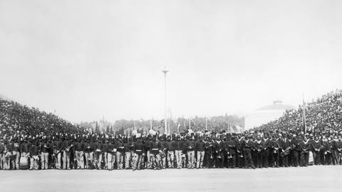 <p>               FILE - This April 6, 1896, file photo is a general view of the audience at the opening of the first modern Summer Olympic Games held in Athens, Greece. From that modest start in Athens with 241 participants in 43 events, the Olympics have ballooned to include 11,238 athletes vying for 306 gold medals at the 2016 Games in Rio de Janeiro. More are expected for the Tokyo Olympics that were postponed one year because of the coronavirus pandemic. (AP Photo/File)             </p>