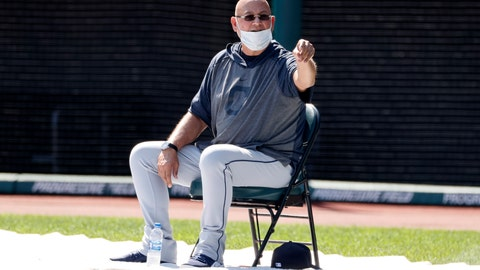 <p>               Cleveland Indians manager Terry Francona watches during baseball practice at Progressive Field, Monday, July 6, 2020, in Cleveland. (AP Photo/Ron Schwane)             </p>
